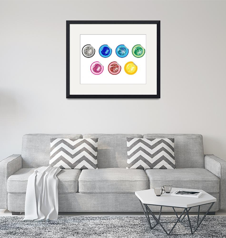 """colored disco ball stickers collection""  by robertosch"