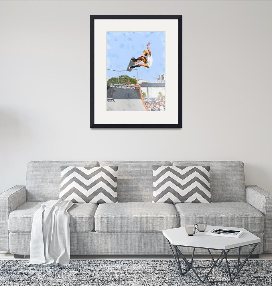 """""""Skateboarder Flying Above the Crowd""""  (2018) by ElainePlesser"""