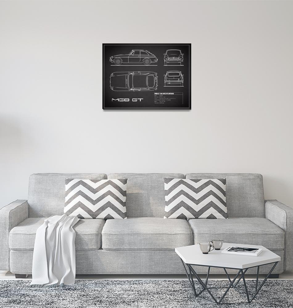 """The MGB GT V8 Blueprint in Black""  by mark-rogan"