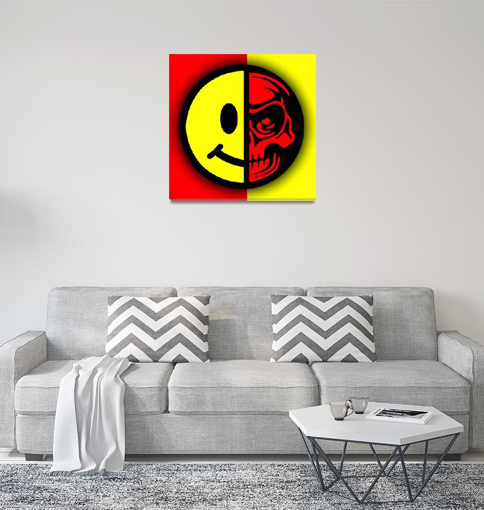 """""""Smiley Face Skull Yellow Red Shadow""""  (2015) by RubinoFineArt"""