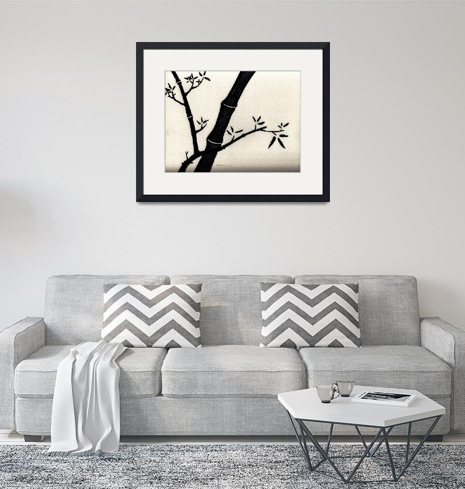 """Zen Sumi Antique Bamboo 2a Black Ink on Watercolor""  (2011) by Ricardos"