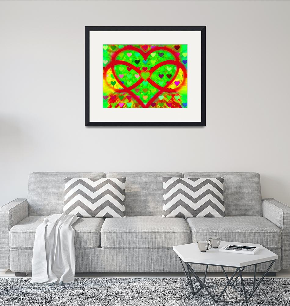 """Infinity Love Heart Green""  by RubinoFineArt"