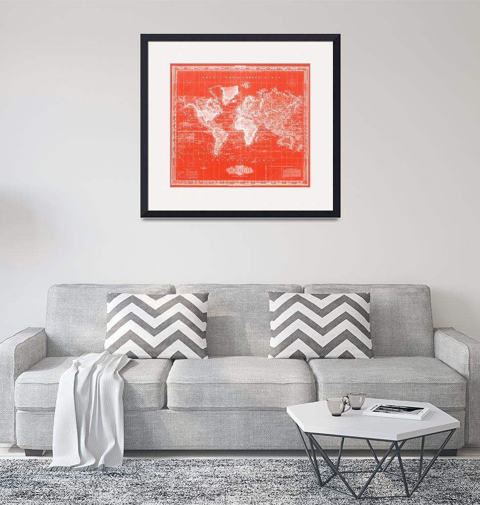 """Vintage Map of The World (1833) Red & White"" by Alleycatshirts"