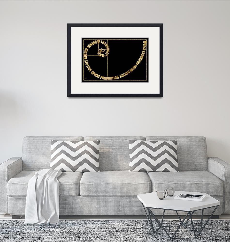 """Golden Ratio, Fibonacci Spiral, Typographic"" by Ars_Brevis"