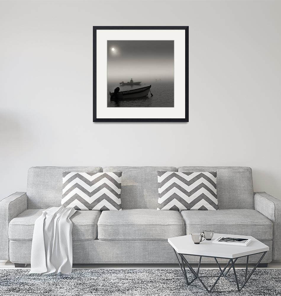 """""""Fog Surfers Black and White Seascape""""  (2015) by Black_White_Photos"""