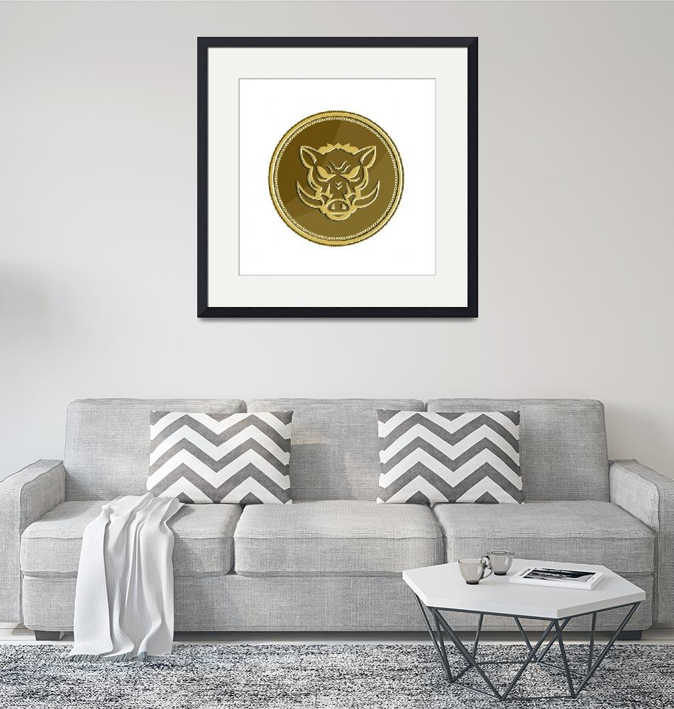 """Wild Hog Head Angry Gold Coin Retro""  (2016) by patrimonio"