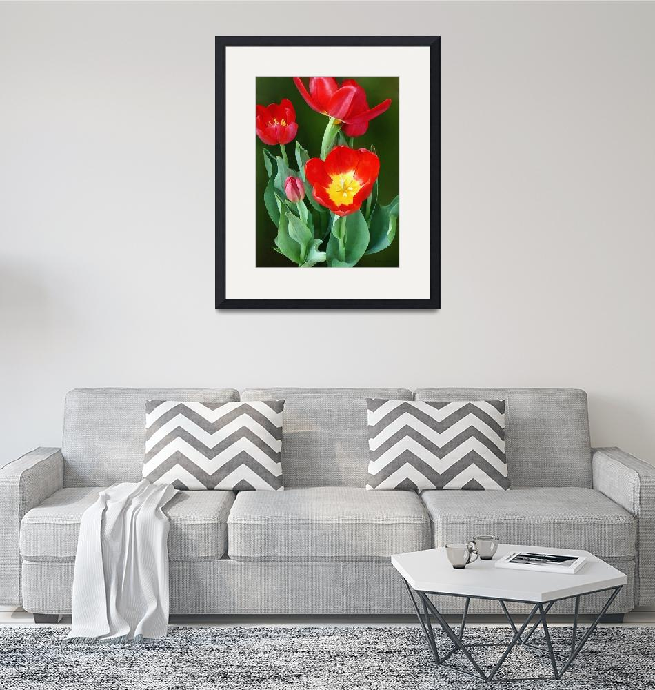 """Bright Red Tulips""  (2013) by susansartgallery"