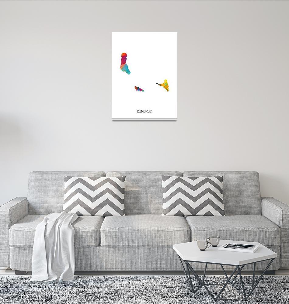 """""""Comoros Watercolor Map""""  (2019) by ModernArtPrints"""