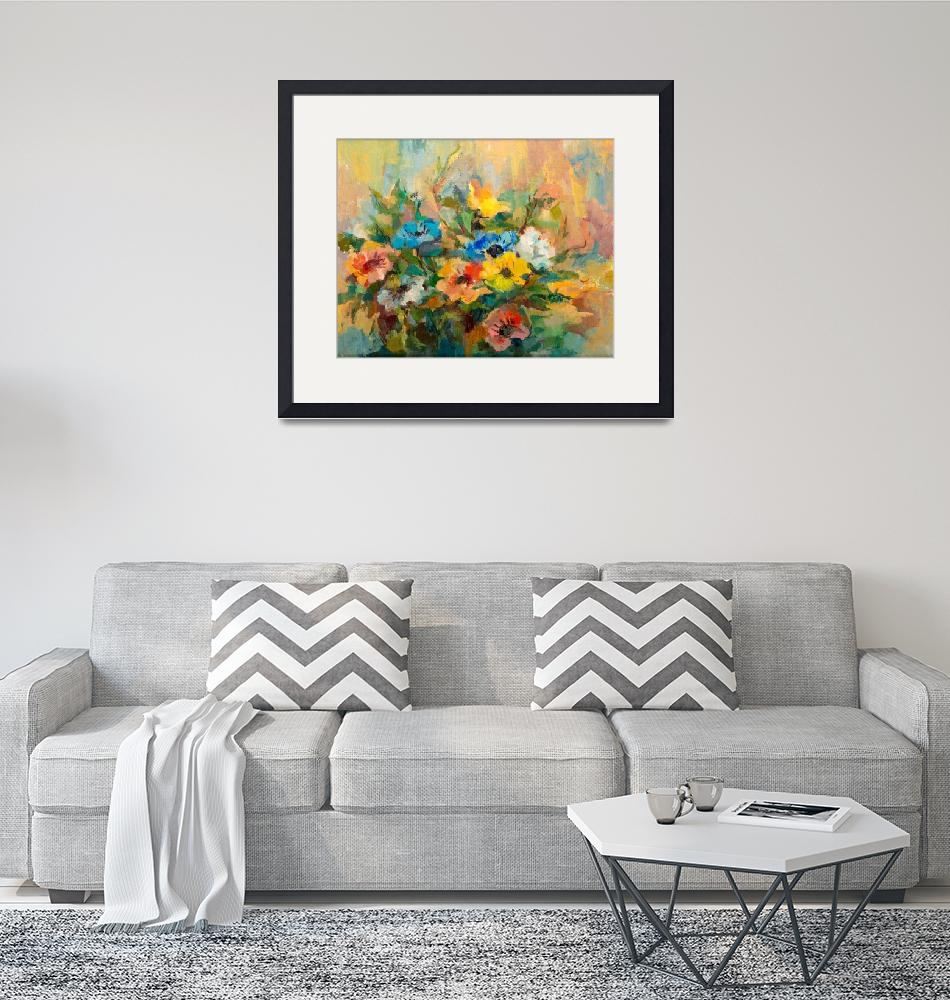"""""""Impressionist Flowers Bouquet Oil Painting""""  (1965) by visfineart"""