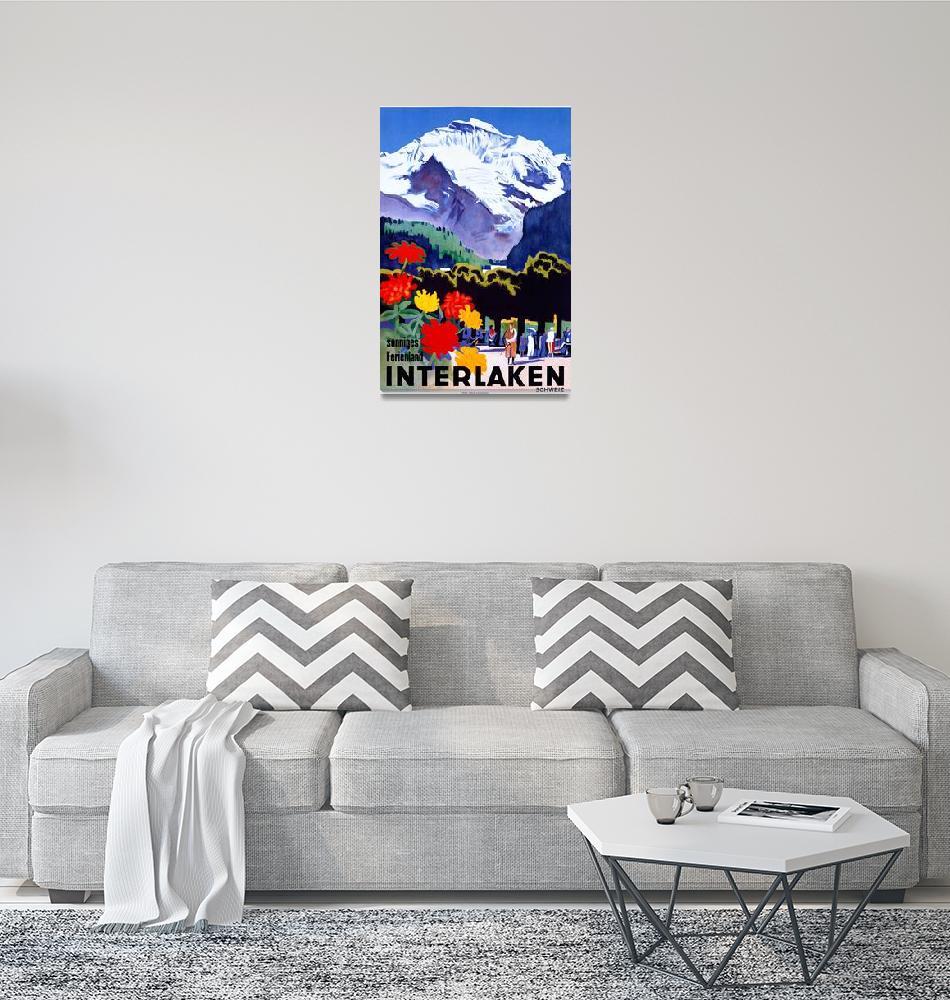 """Interlaken, Switzerland Vintage Travel Poster""  by FineArtClassics"