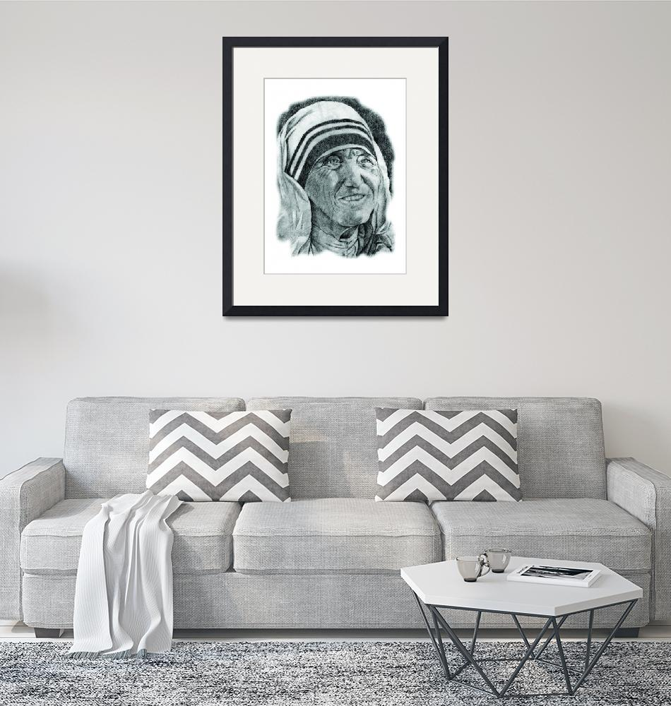 """""""Hand Drawn Portrait of Mother Teresa""""  by CreativeArtisticNuance"""