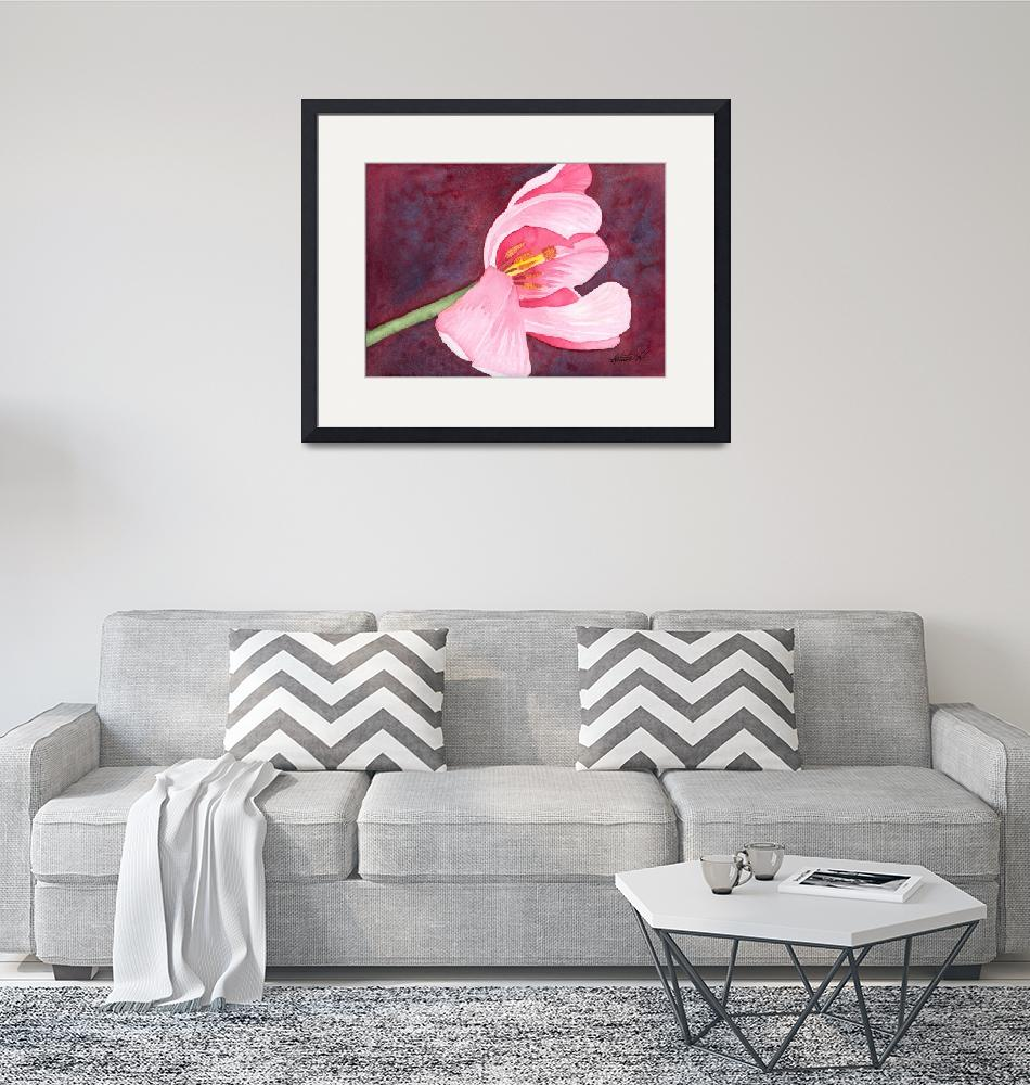 """""""Tilted Pink Tulip Watercolor""""  by foxvox"""