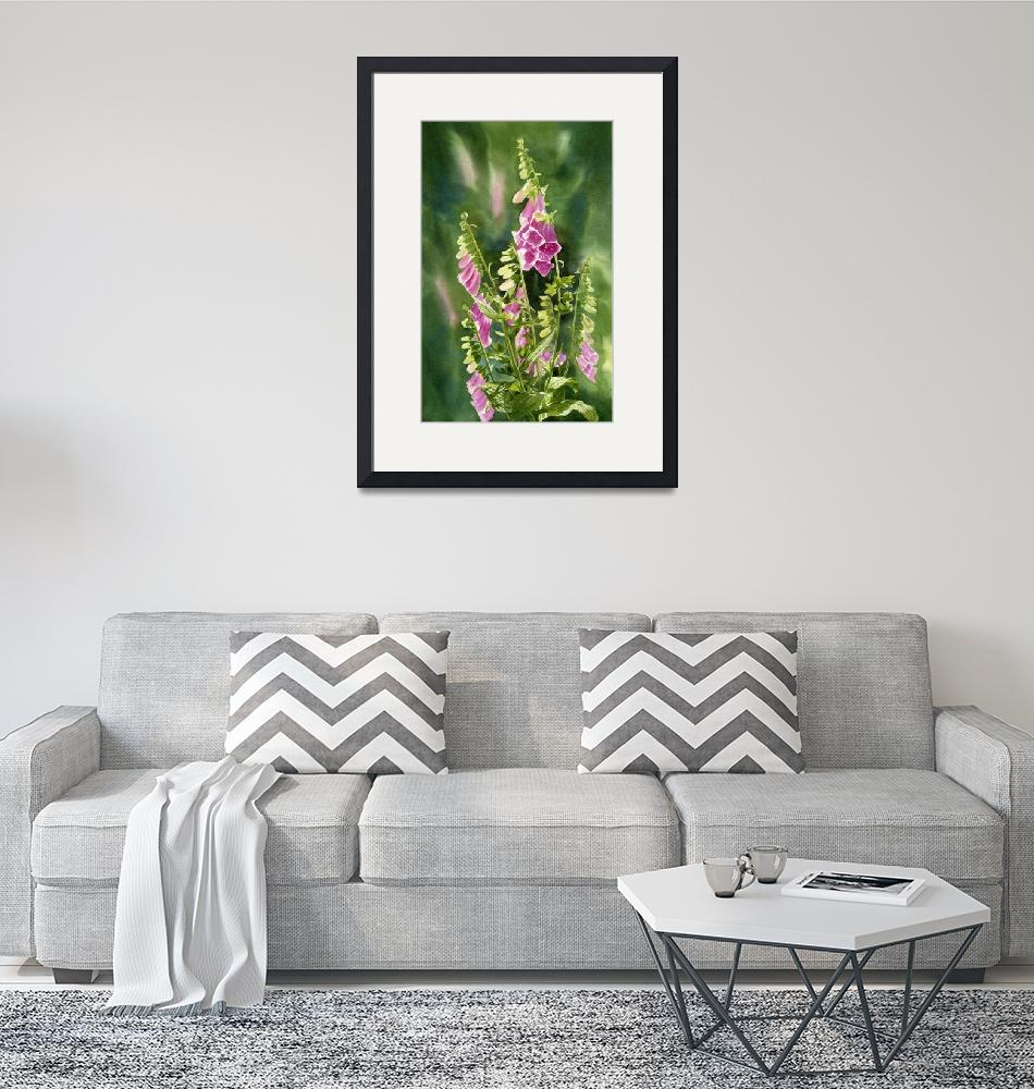 """Foxgloves with Background""  (2012) by Pacific-NW-Watercolors"