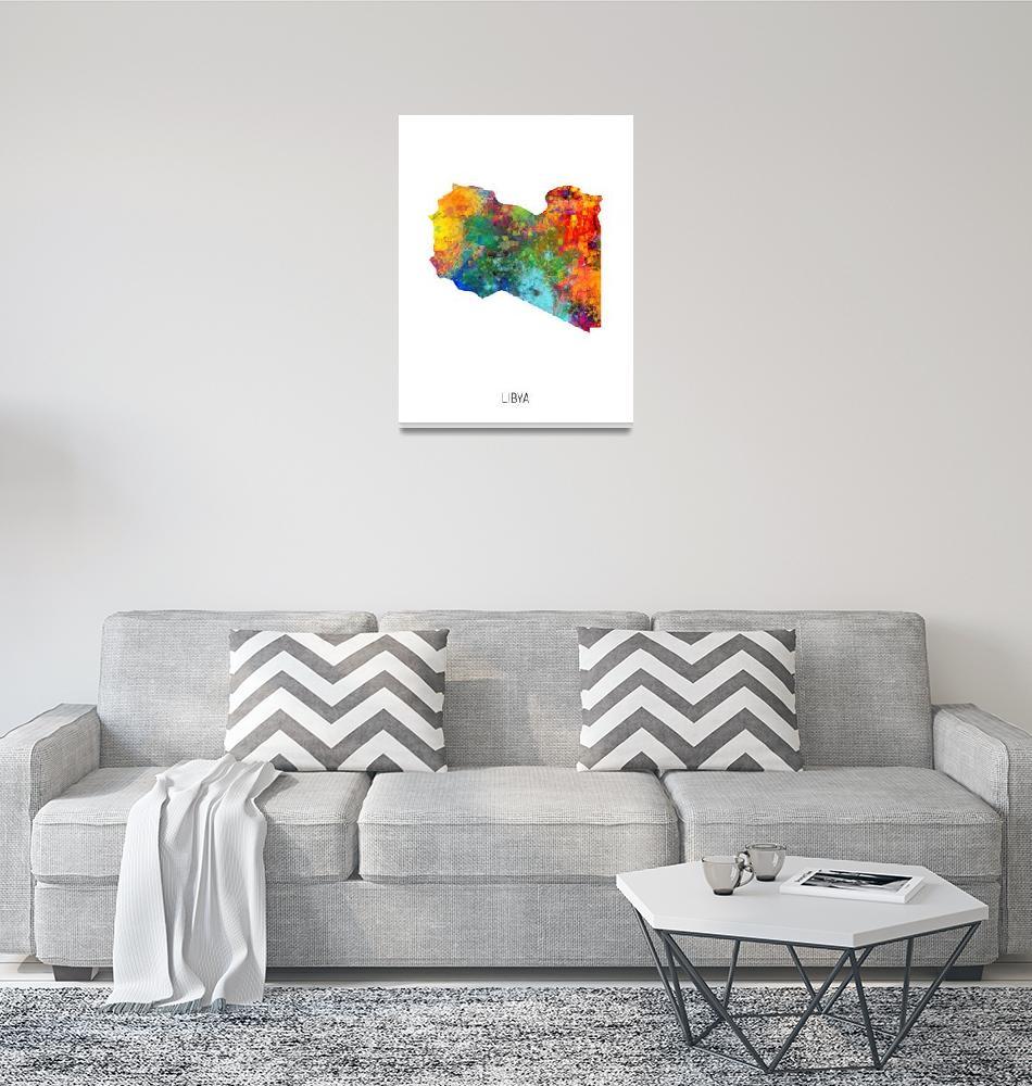 """Libya Watercolor Map""  (2019) by ModernArtPrints"