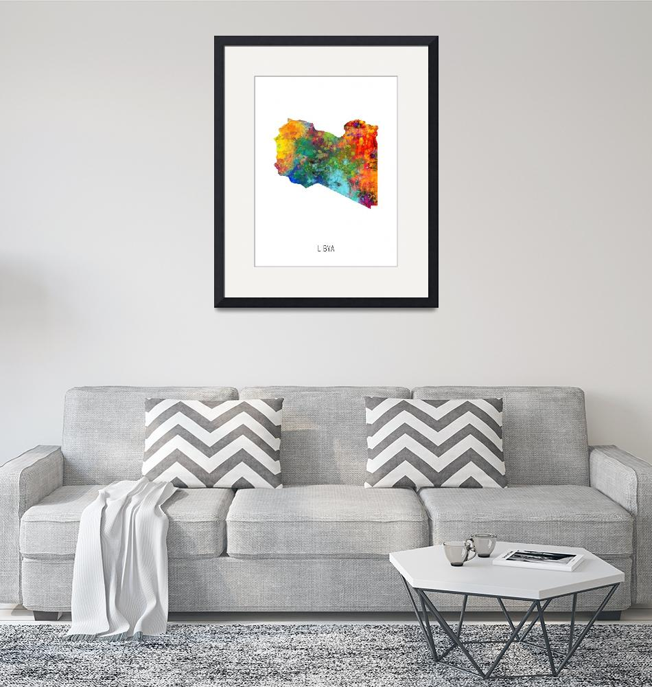 """Libya Watercolor Map""  (2019) by ModernArtPrints"