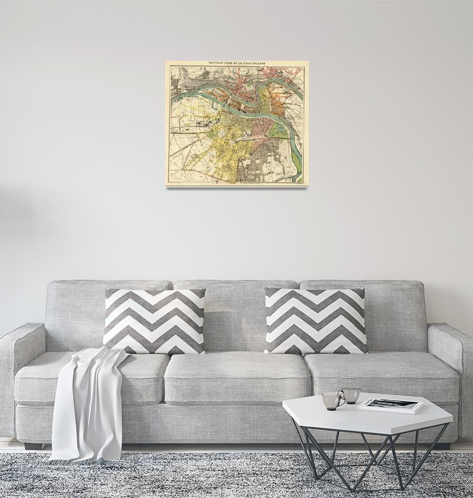 """""""Vintage Map of Lyon France (1913)""""  by Alleycatshirts"""