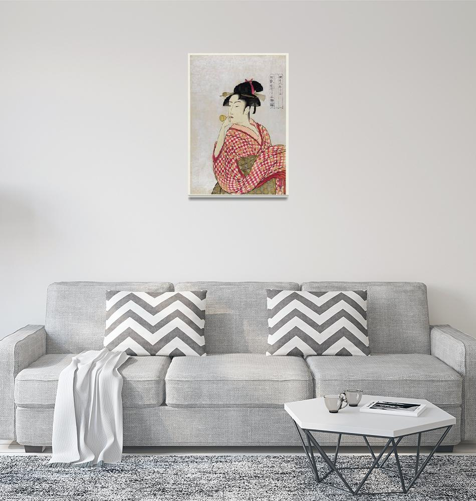 """Woman Blowing a Glass Pipe by Utamaro Kitagawa""  by FineArtClassics"