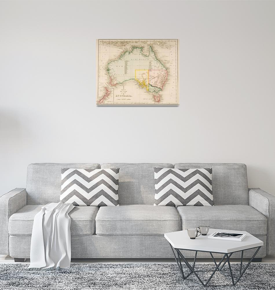 """Map of Australia and New Zealand""  by fineartmasters"