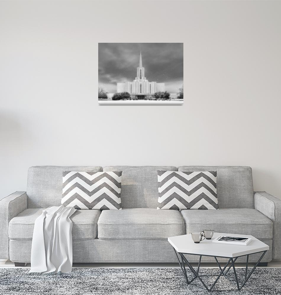 """Jordan River Temple Large-16x22-BW""  by TerrySpringer"