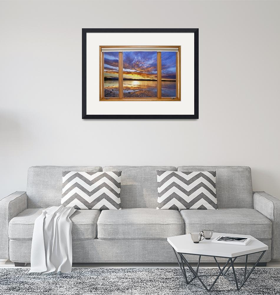 """""""Colorful Waterfront Classic Wood Window View""""  (2014) by lightningman"""