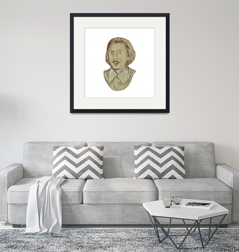 """Christopher Marlowe Bust Drawing""  (2017) by patrimonio"
