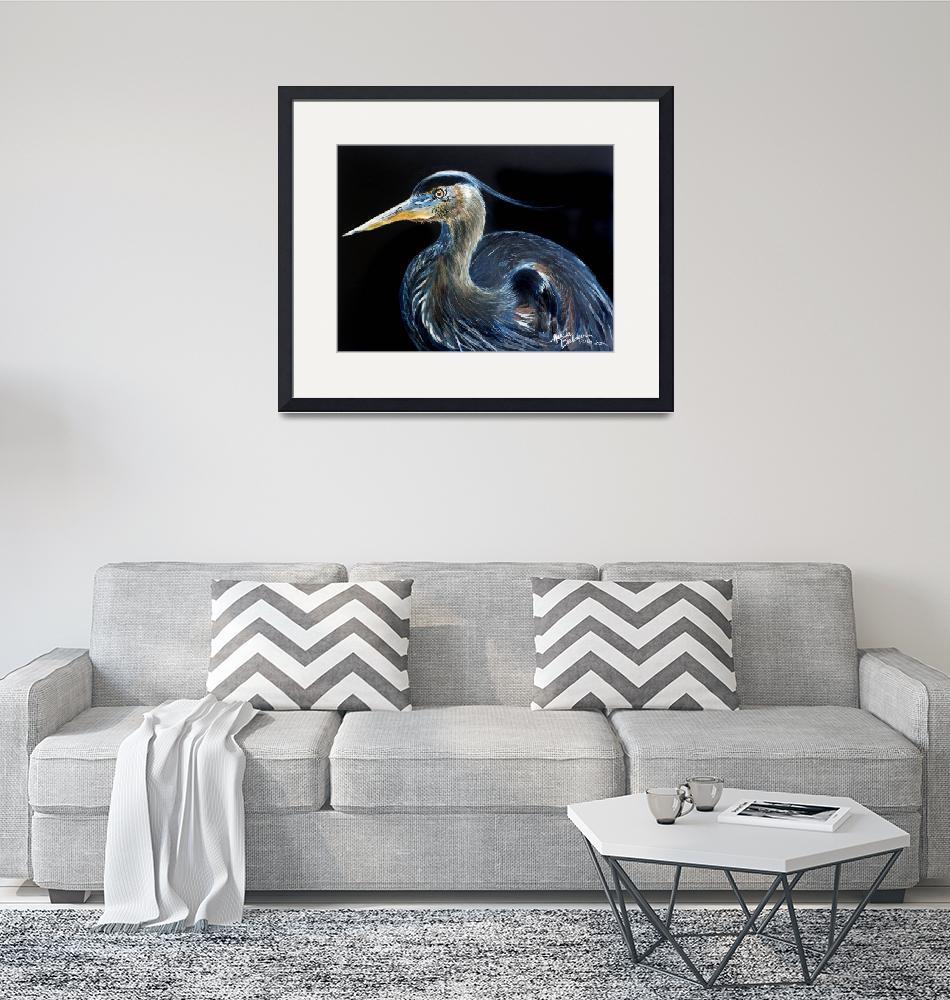 """BLUE HERON WATERCOLOR 1612""  (2016) by MBaldwinFineArt2006"