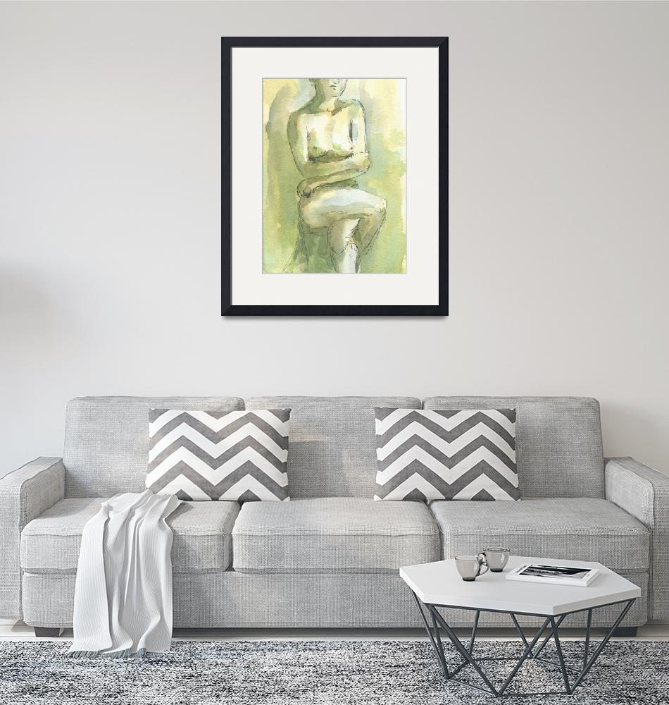 """Yellow Green Female Nude Figure Study""  (2008) by tolunart"