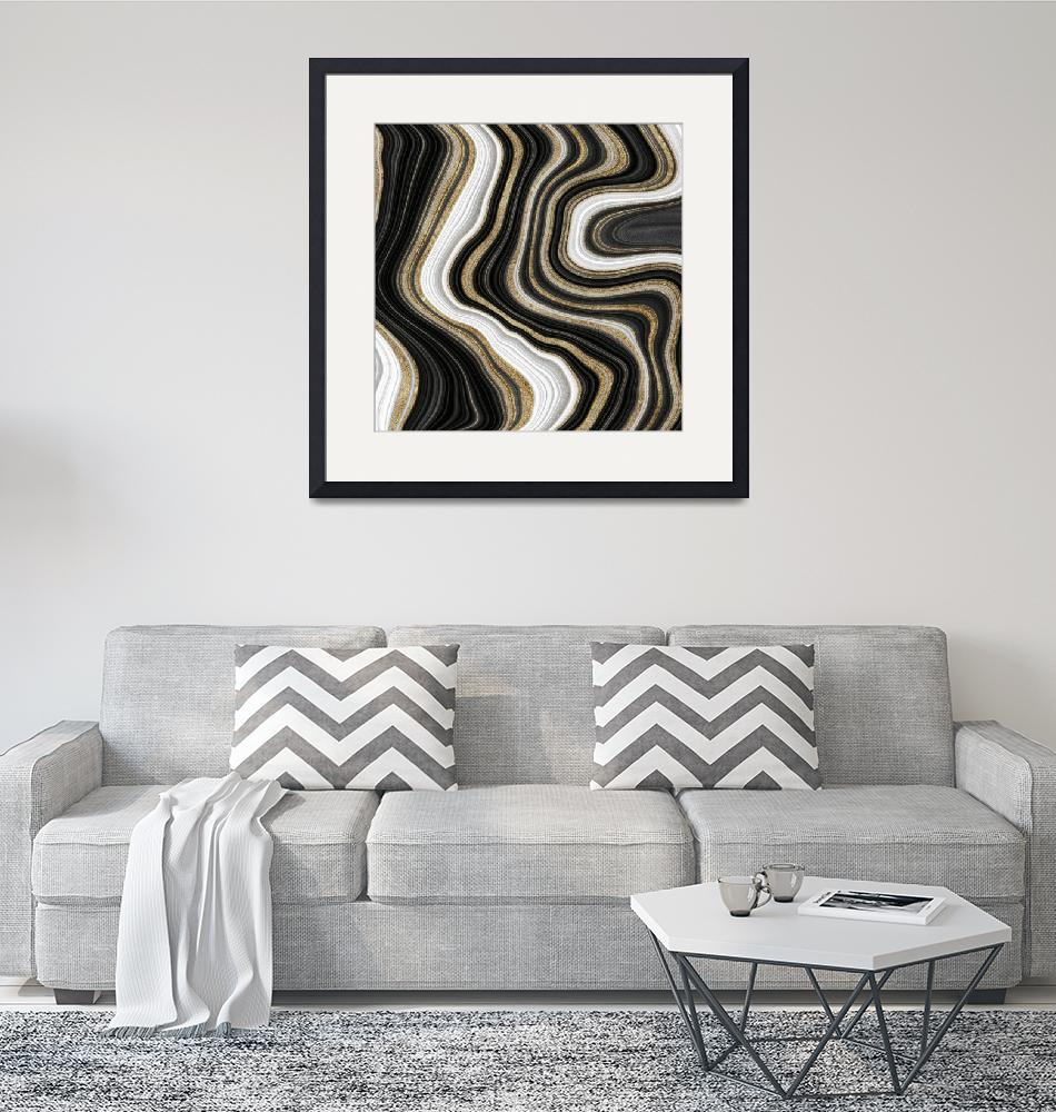 """""""Gold And Black Agate Gemstone""""  by fineartgallery"""