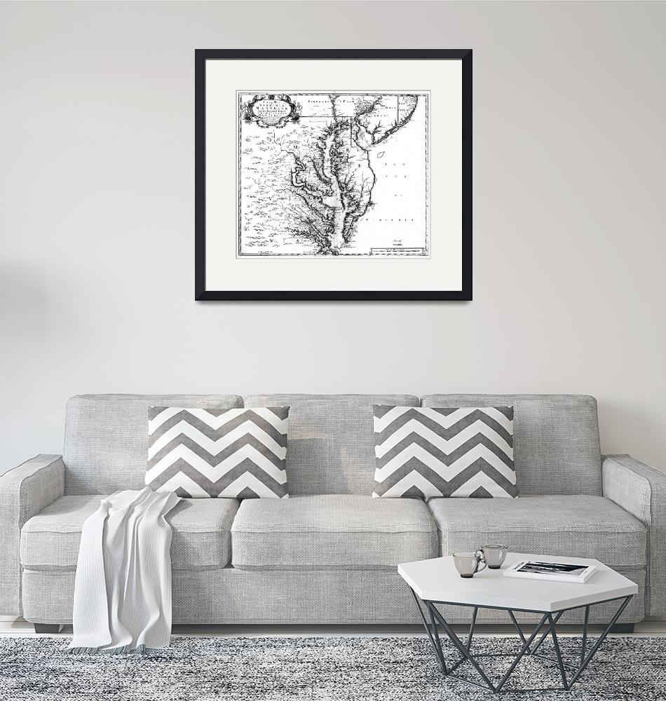 """""""Vintage Map of The Chesapeake Bay (1719) BW""""  by Alleycatshirts"""