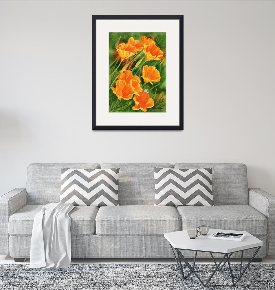 """California Poppies, Faces Up""  (2011) by Pacific-NW-Watercolors"