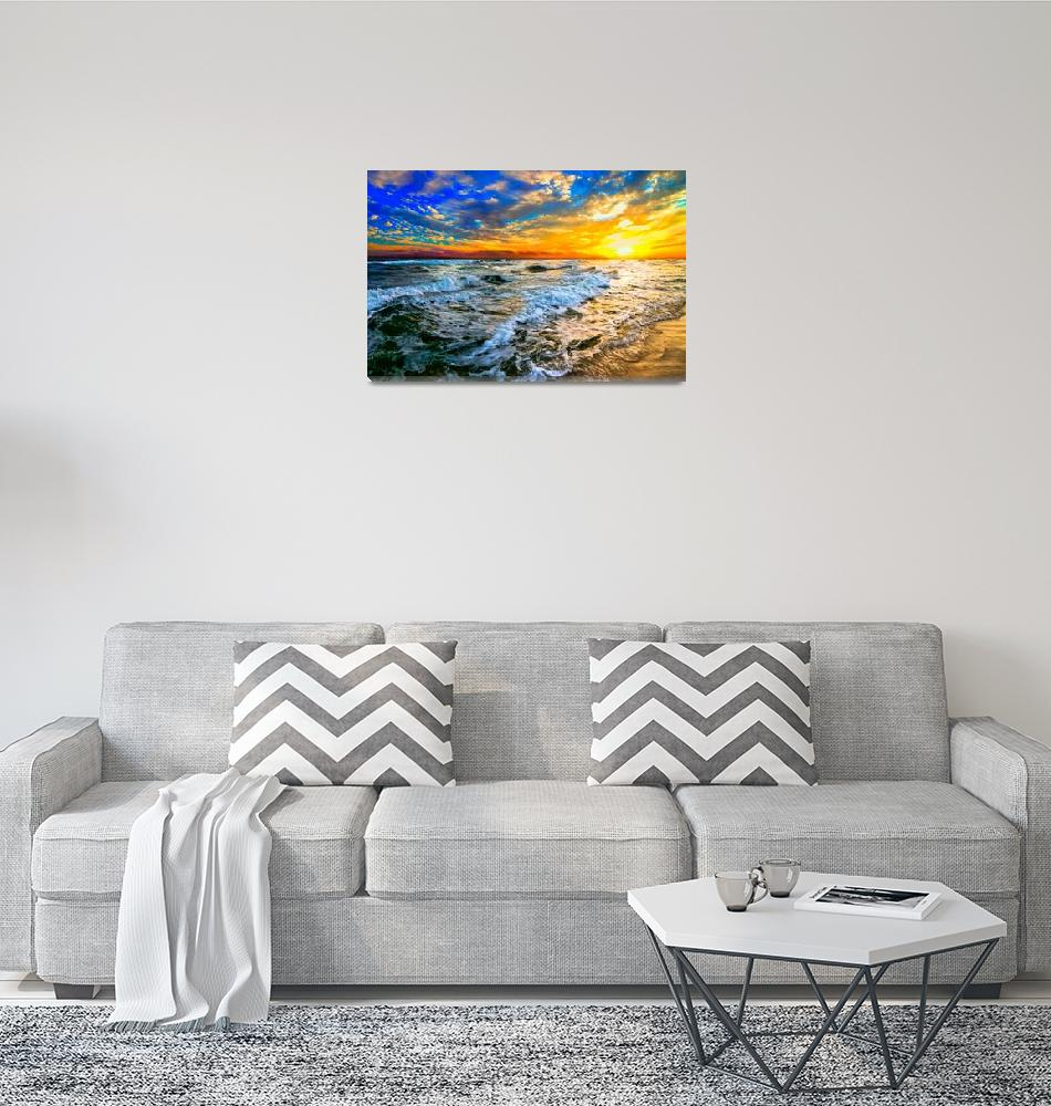 """""""yellow orange blue colorful ocean sunset prints""""  (2014) by eszra"""