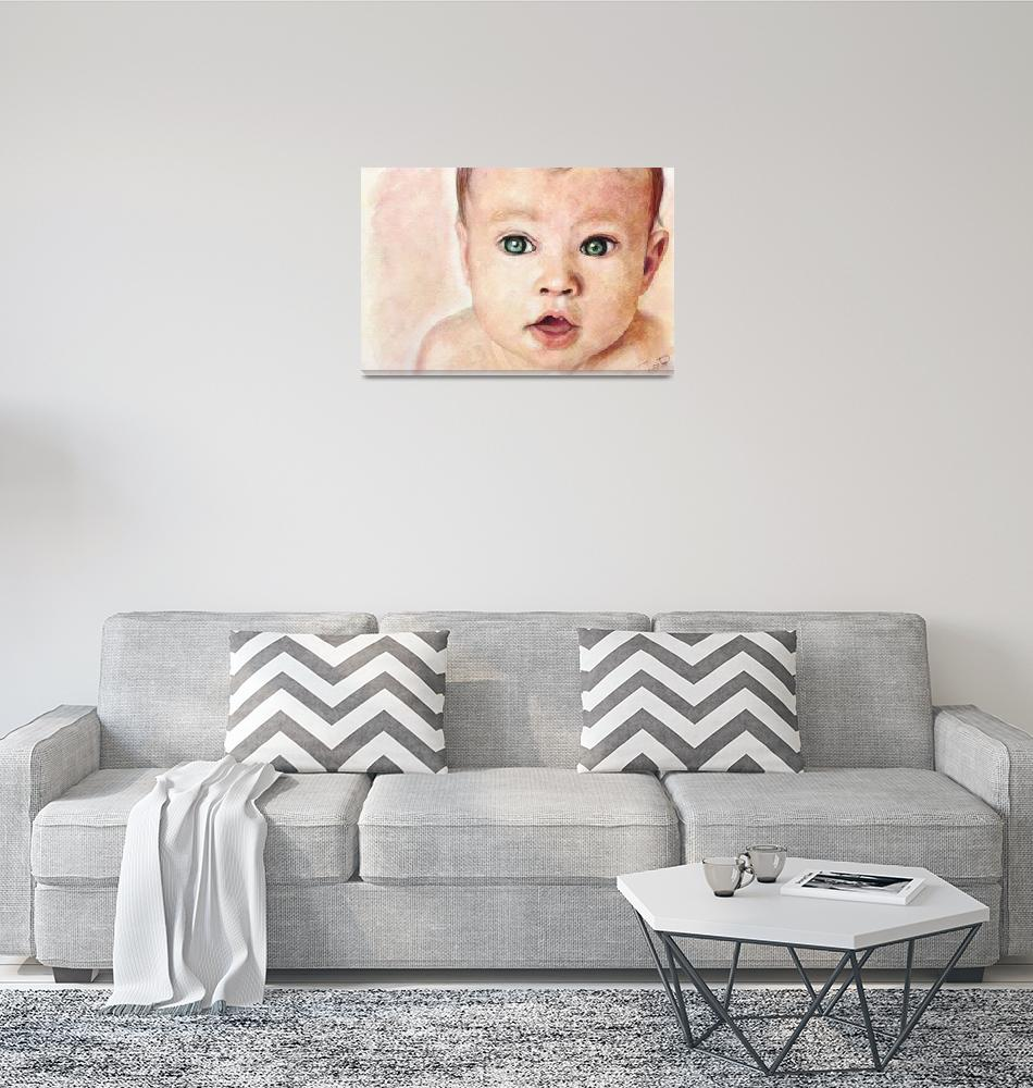 """""""Watercolour Baby portrait painting"""" (2011) by rustydoubleohseven"""