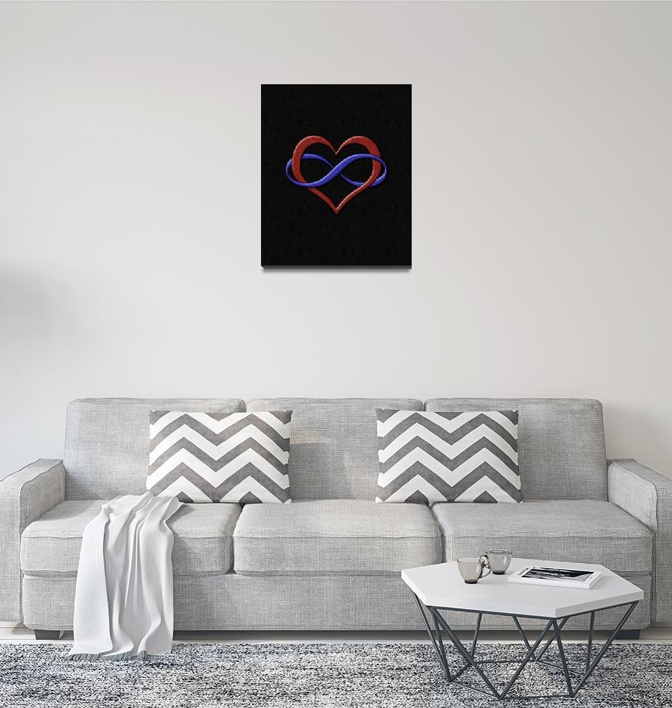 """Infinity Heart Symbol - Polyamory Pride Flag""  by LiveLoudGraphics"