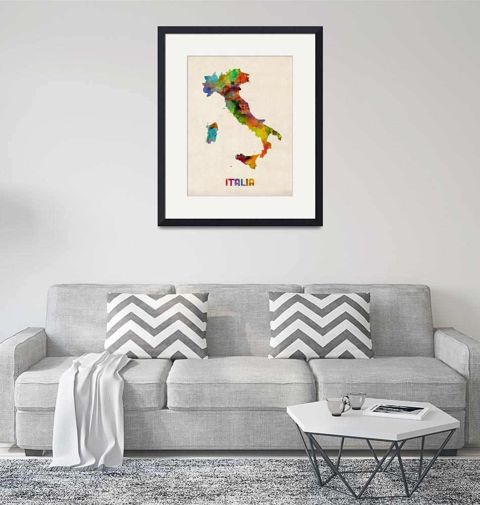 """Italy Watercolor Map, Italia""  (2013) by ModernArtPrints"