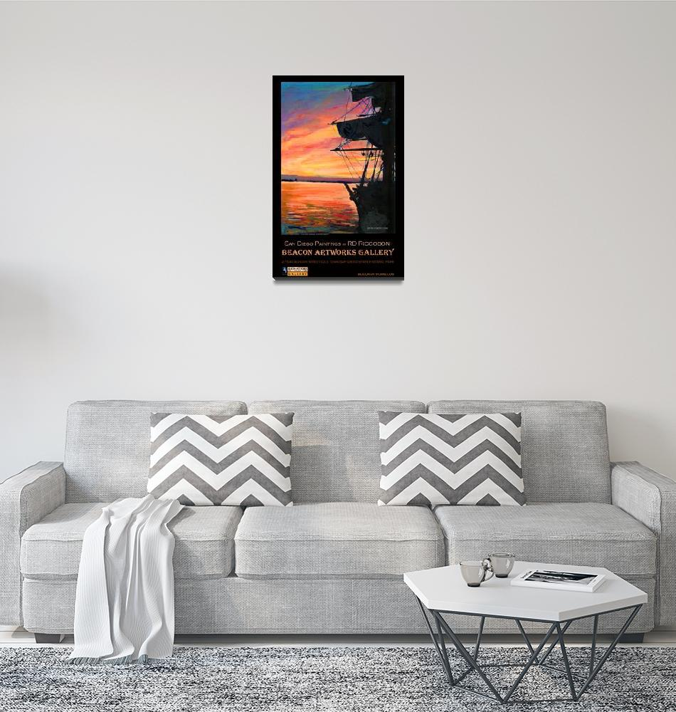 """San Diego Harbor Sunset by RD Riccoboni™ Poster""  (2009) by RDRiccoboni"