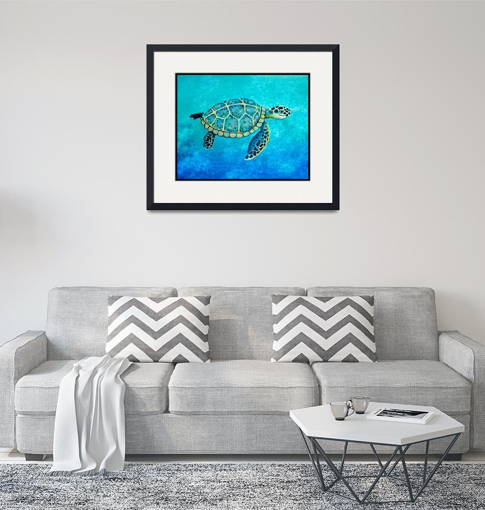 """""""Swimming Sea Turtle"""" (2014) by Littlepig"""