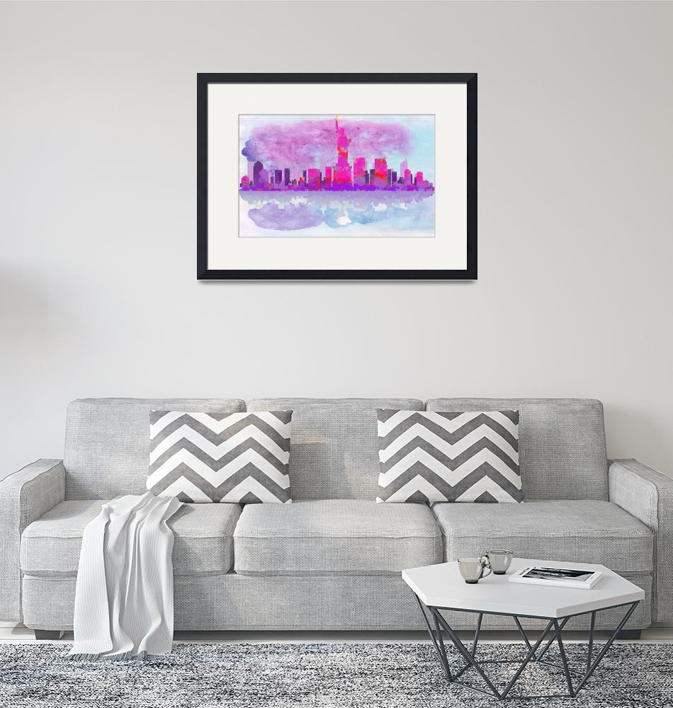 """""""New York City Silhouette in Hot Pink and Purple"""" by WrightFineArt"""