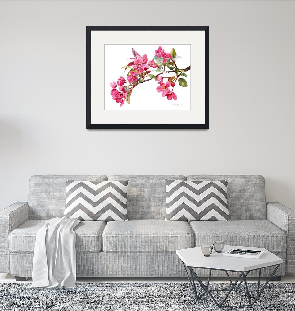 """""""Pink Flowering Tree Blossoms""""  (2017) by Pacific-NW-Watercolors"""