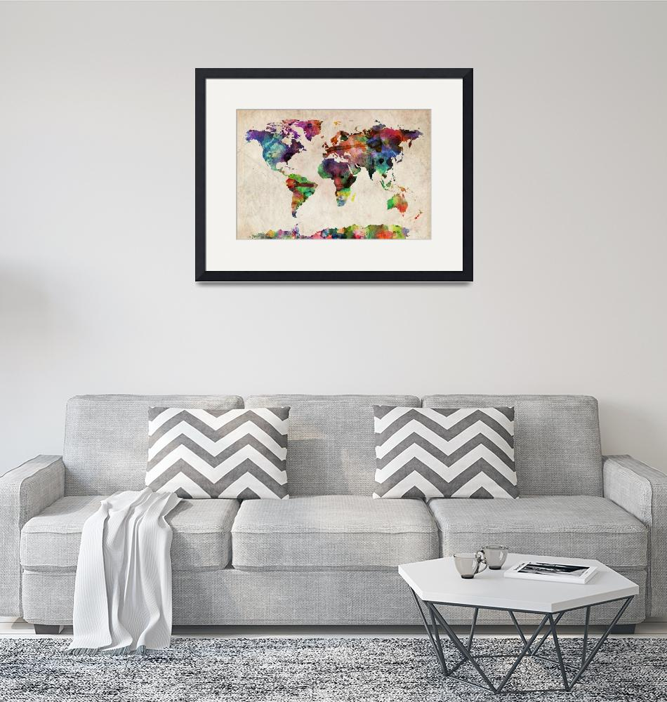"""World Map Urban Watercolor""  (2011) by ModernArtPrints"