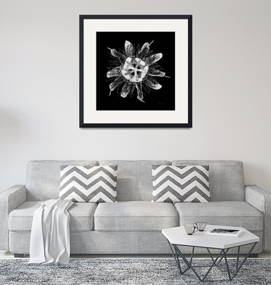 """Expressive Passion Flower in Black 50674K""  (2018) by Ricardos"