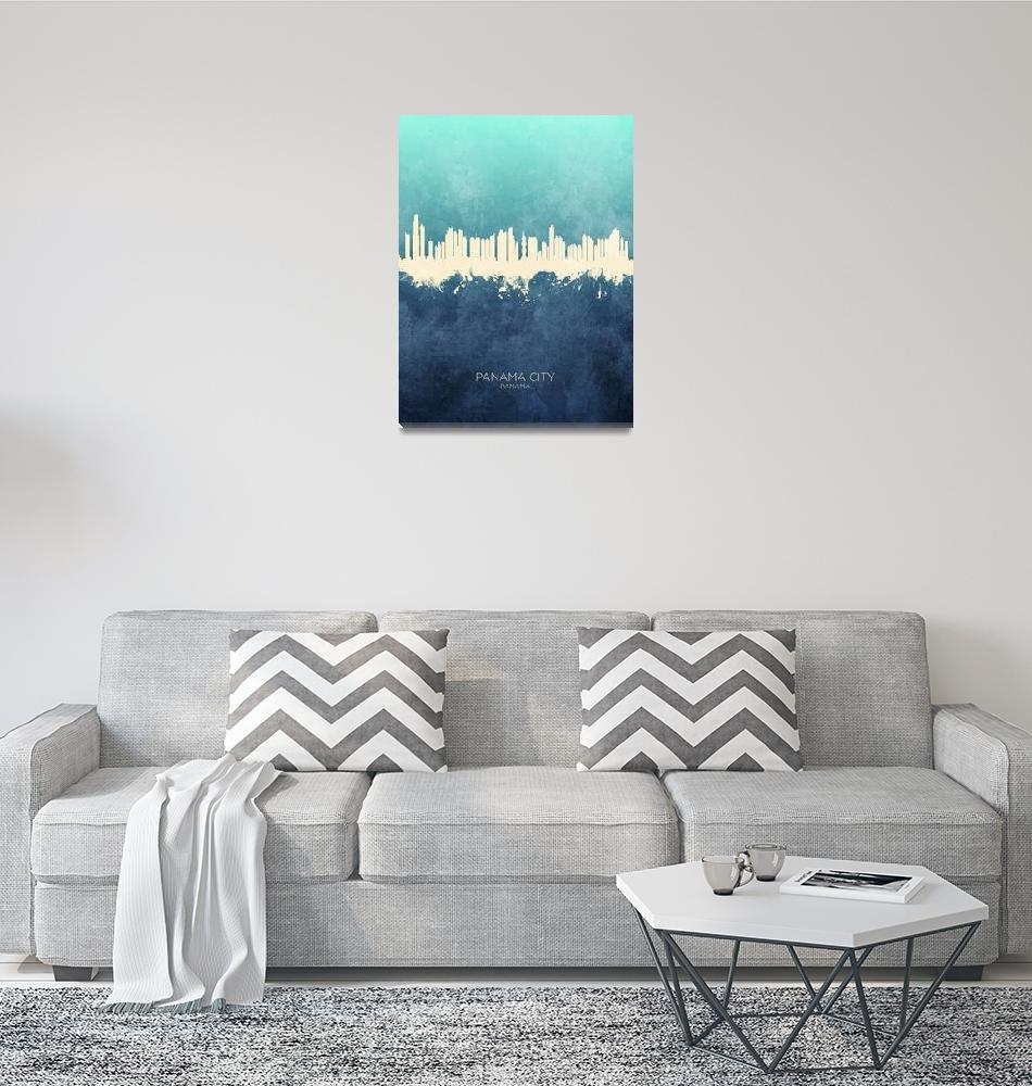 """Panama City Skyline""  (2019) by ModernArtPrints"