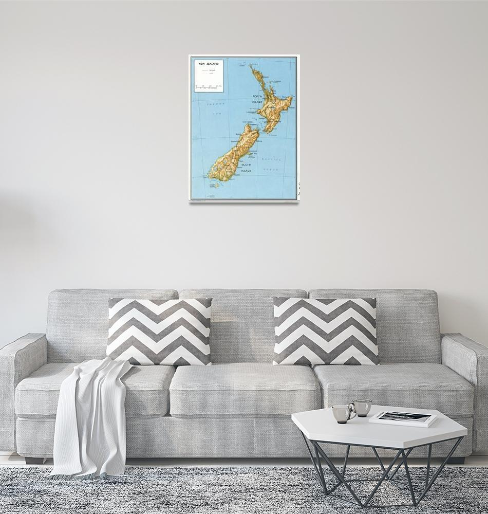 """""""Vintage Map of New Zealand (1971)""""  by Alleycatshirts"""