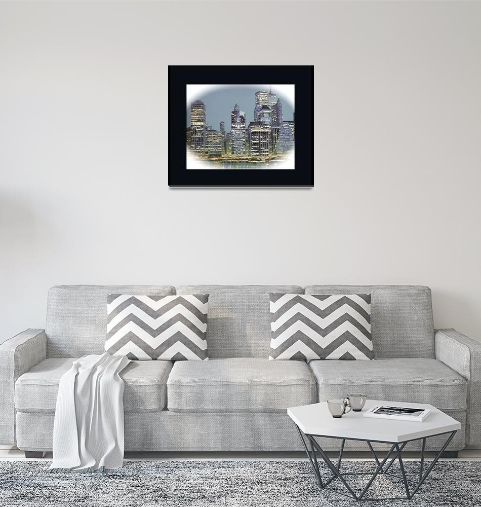 """NYC skyline lower Manhattan last century""  (1999) by frankreggio"