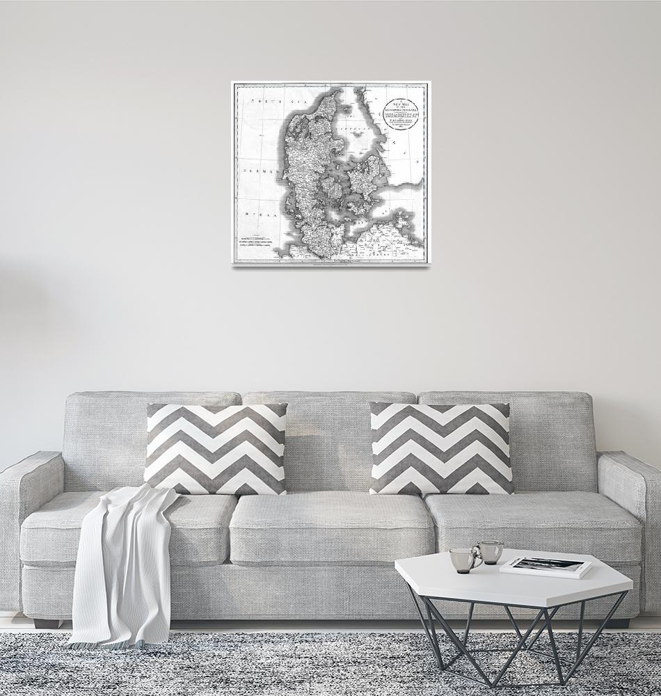 """""""Vintage Map of Denmark (1801) BW""""  by Alleycatshirts"""