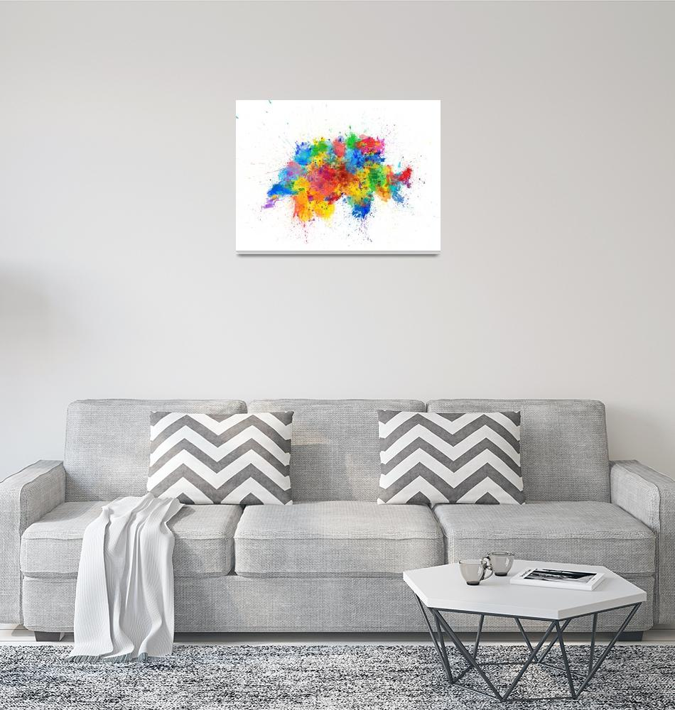 """Switzerland Paint Splashes Map""  (2017) by ModernArtPrints"