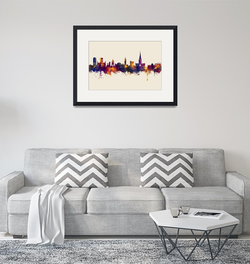 """Norwich England Skyline""  (2019) by ModernArtPrints"
