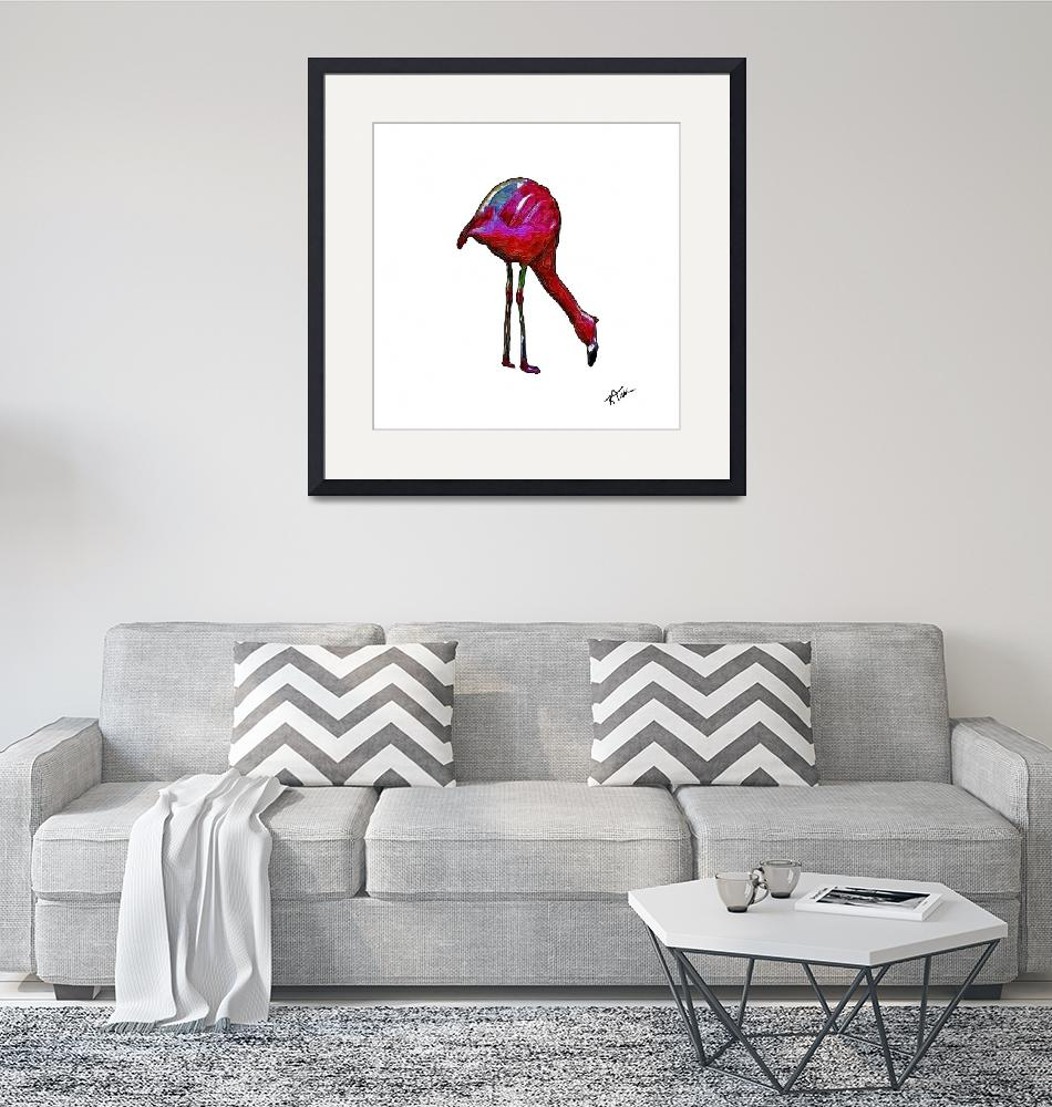 """""""Feeding Flamingo In Abstract""""  (2017) by Kirtdtisdale"""