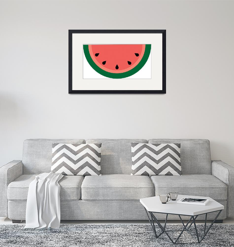 """""""Pink Green Watermelon Slice with Seeds""""  (2017) by ValeriesGallery"""