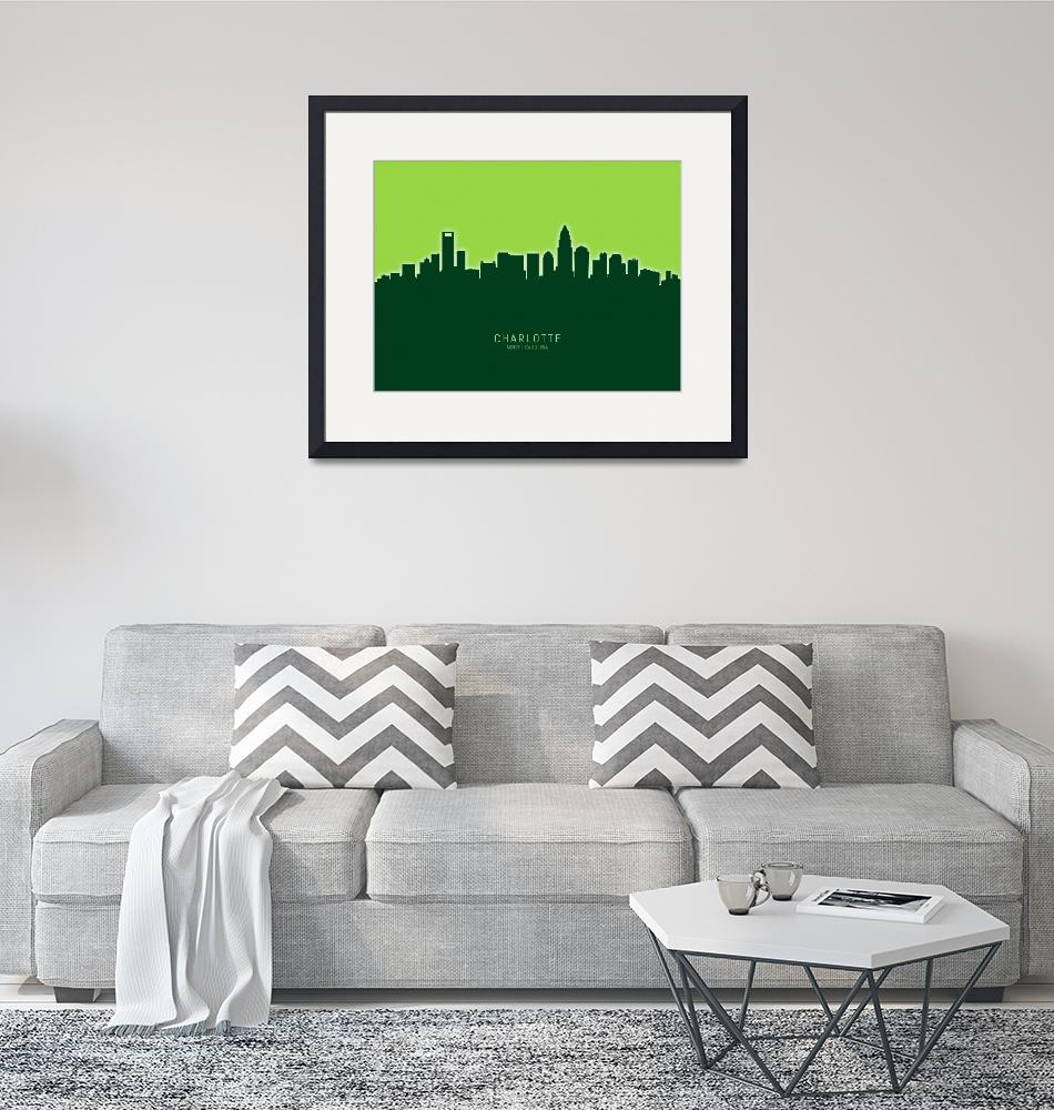 """Charlotte North Carolina Skyline""  (2020) by ModernArtPrints"