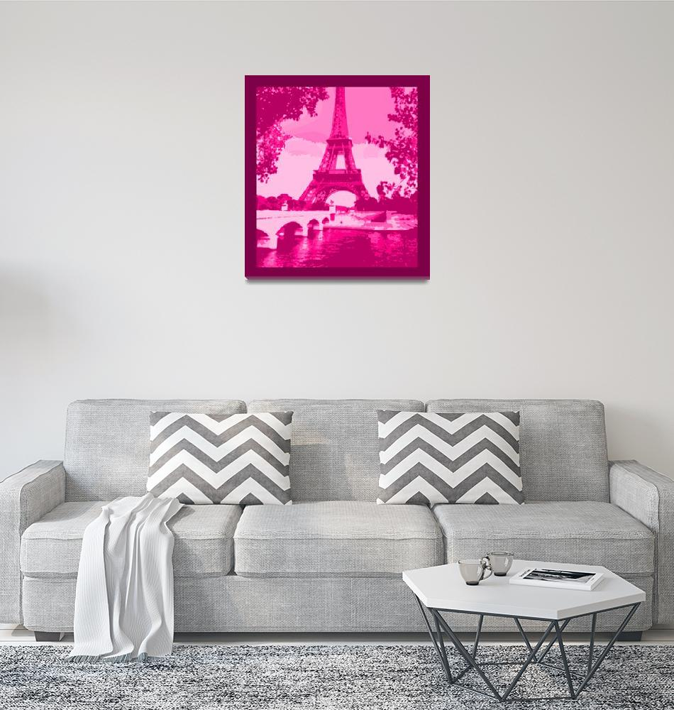 """Eiffel Tower Seine River Enhanced Pink Cropped bor""  (2013) by TheNorthernTerritory"